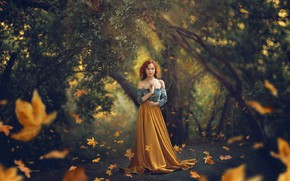 Picture leaves, girl, nature, pose, Park, red, Jessica Drossin