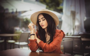 Picture girl, hat, dress, brunette, table, Tasi Photography