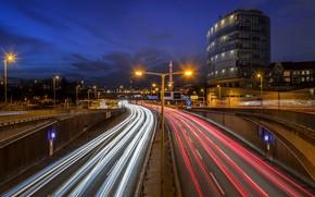 Picture road, night, bridge, lights, movement, building, Germany, highway, lights, Berlin, city street