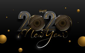Picture background, black, Background, Happy New year, 2020