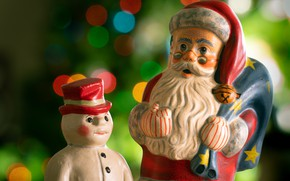 Picture holiday, toy, toys, two, Christmas, New year, snowman, Santa Claus, bag, Santa Claus, figures, bokeh, …