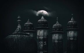Picture night, the moon, tower, dome, Bikaner