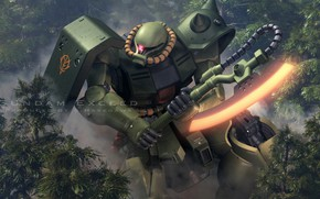 Picture forest, robot, axe, Mobile Suit Gundam
