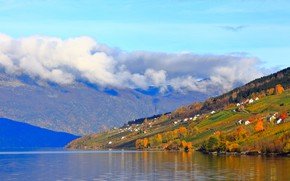Picture autumn, forest, the sky, clouds, trees, landscape, mountains, fog, comfort, lake, hills, blue, the slopes, …