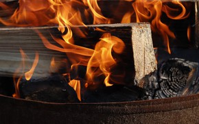 Picture close-up, fire, flame, wood, the element of fire, burning