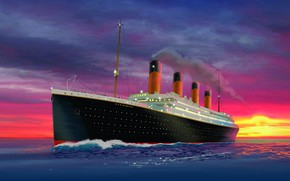Picture Sunset, The ocean, Figure, Titanic, The ship, Nose, Art, Painting, Titanic, Rendering, Tank, RMS Titanic, ...