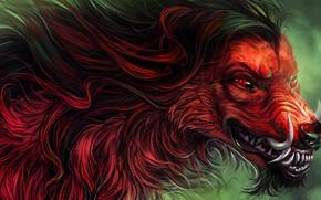 Picture fear, wolf, predator, wool, mouth, fangs, werewolf, red eyes, evil eye, werewolf, mater, by Alaiaorax
