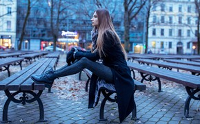 Picture autumn, leaves, trees, the city, lights, pose, model, portrait, home, makeup, shoes, hairstyle, gloves, sitting, …