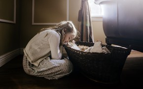 Picture cat, comfort, house, girl