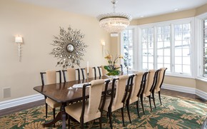 Picture table, chairs, interior, mirror, window, chandelier, vase, dining room