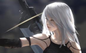 Picture blue eyes, Square Enix, Platinum Games, computer game, blonde beauty, Nier Automata, девушка андроид, Ниер …