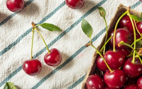 Picture strips, cherry, berries, towel, fabric, a couple, cherry, leaves, cherries, box, composition