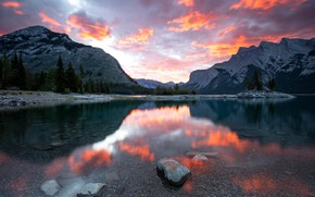 Picture forest, the sky, clouds, sunset, mountains, reflection, stones, rocks, shore, the slopes, view, the evening, …