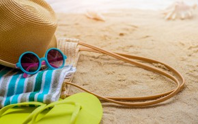 Picture sand, sea, beach, summer, the sun, stay, towel, hat, glasses, summer, beach, sea, sand, vacation, …