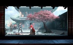 Picture sword, fantasy, flowers, katana, tree, peach, battle, samurai, artist, weapons, fighting, bow, artwork, warriors, building, …