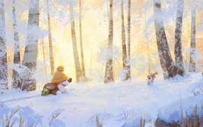 Picture winter, forest, mouse, walk, Corgi