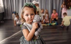 Picture look, children, toy, bear, girl, child, Vladimir Vasiliev
