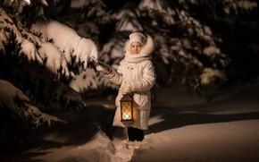 Picture winter, snow, tree, spruce, the evening, girl, lantern, shadows, child, Vladimir Vasiliev