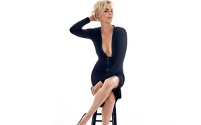 Picture Charlize Theron, Blonde, Chair, Legs, Charlize Theron, Unbuttoned dress