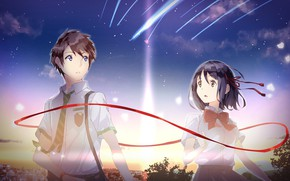 Picture girl, dawn, anime, art, guy, two, Kimi no VA On, Your name