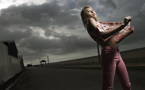 Picture road, girl, background