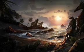 Picture sea, the sky, landscape, rocks, dragons, fantasy, art