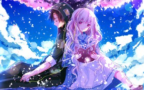 """Picture girl, spring, guy, two, Kagerou Project, The project """"hot Fog"""""""