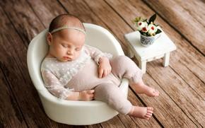 Picture Board, sleep, chair, girl, baby, child, baby, a bunch, stool, Наталья Михайлова