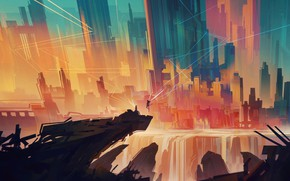 Picture city, abstract, art, figure, angel, artist, digital art, artwork, cityscape, Bastien Grivet