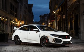 Picture white, street, the evening, Honda, hatchback, the five-door, 2019, Civic Type R, 5th gen, FK8