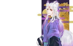 Picture look, guy, white hair, Onmyouji, Onmyoji, Onmyouji (NetEase), Youko, Pixiv Id 12762217