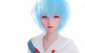 Picture anime, art, girl, Ruoxin Zhang, rei ayanami fanart