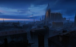 Picture home, birds, night, the city, Castle