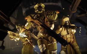 Picture weapons, background, the game, soldiers, trio, equipment, Destiny 2, Destiny 2: Shadowkeep