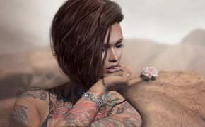 Picture flower, girl, hairstyle, tattoo