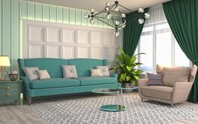 Picture graphics, furniture, window, chandelier, living room, sofa