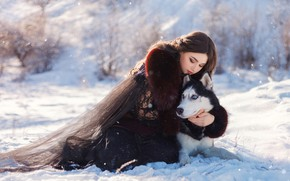Picture winter, girl, snow, pose, dog, friends, husky, hugs, Julia Tagashova, Katerina Prikhodko