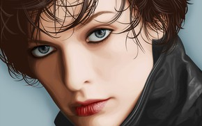 Picture portrait, actress, art, Milla Jovovich