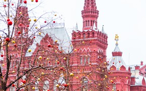 Picture winter, decoration, city, the city, balls, New Year, Christmas, Moscow, The Kremlin, christmas, Russia, balls, …