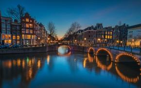 Picture bridge, lights, home, Amsterdam, channel, Netherlands