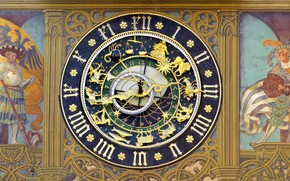 Picture Germany, town hall, Ulm, astronomical clock, Baden-Württemberg