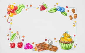 Picture white, berries, background, fruit, dessert, background, Chocolate
