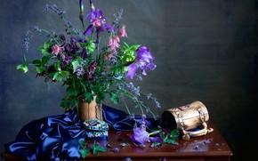Picture bouquet, mug, iris, Aquilegia
