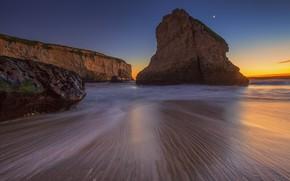 Picture beach, rock, CA, glow, USA, Bay Shark's Fin