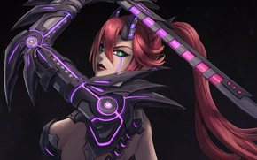 Picture girl, fiction, sword, art, horns, cyborg, cyberpunk, cyborg demon