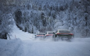 Picture road, forest, snow, movement, Porsche, 2020, Taycan, Taycan 4S