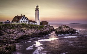 Picture landscape, sunset, stones, the ocean, lighthouse, home, Portland, USA