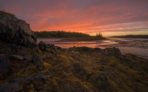 Picture sunset, Sunset, Low Tide, coast of Maine