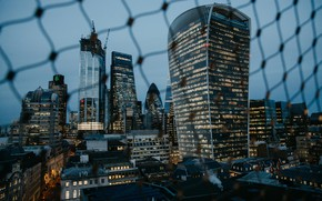 Picture city, lights, evening, fence, London, buildings, architecture, skyscrapers, urban, cityscape, metropolis, 4k ultra hd background, …