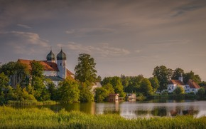 Picture landscape, nature, river, home, Germany, Bayern, the monastery, dome